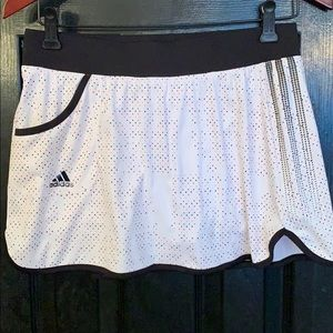 Adidas white polka dot athletic skort size small